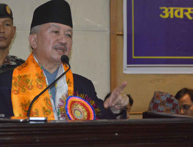 Speaker Subas Chandra Nembang speaks at an interaction organised by the Reporters' Club, in Pokhara, on Thursday, October 1, 2015. Photo: Reporters' Club