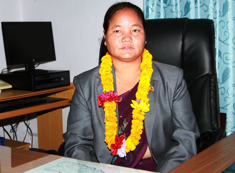 After taking the oath of office and secrecy, Speaker Onsari Gharti Magar assumes her office at the Parliament Secretariat, on Sunday, October 18, 2015. Photo: RSS