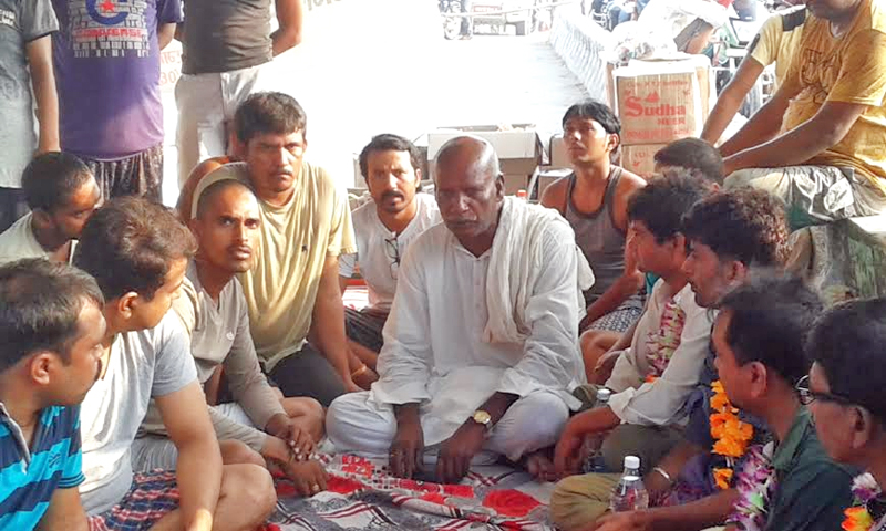 File - Mahendra Yadav, Chairman of Tarai Madhes Sadhawan Party, supporting a sit-in protest called by the United Democratic Madhesi Front (UDMF) at the Bairgania checkpoint of Rautahat district on Thursday, October 1, 2015. Photo: Prabhat Jha