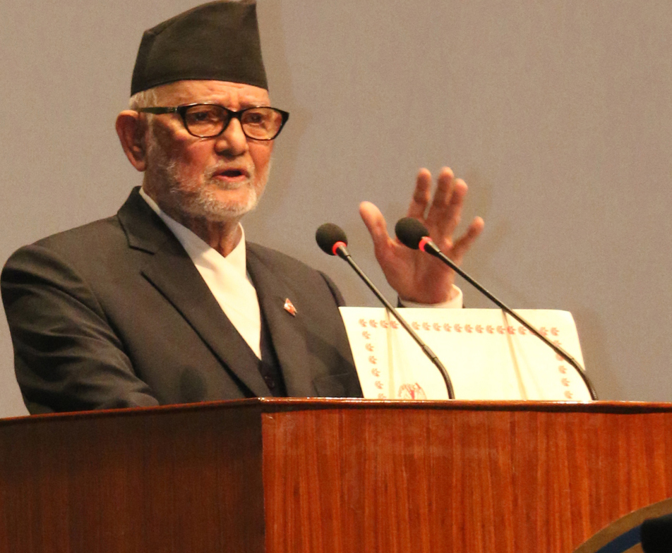 Nepali Congress President Sushil Koirala presents his nomination to the prime ministerial election, at the Parliament meeting in Kathmandu, on Sunday, October 11, 2015. Photo: RSS