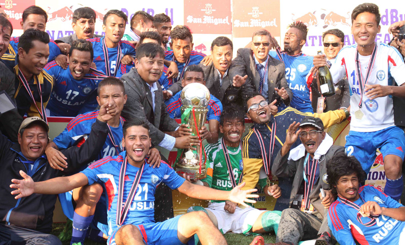 Players and officials of Three Star Club pose for a photograph with the winner's trophy, after they won the Red Bull National League, at the ANFA Complex in Lalitpur on Saturday, October 17, 2015. Photo: Udipt Singh Chhetry