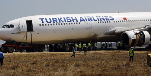 Technical experts making their efforts to lift the Turkish Airlines aircraft at the Tribhuvan International Airport in Kathmandu on Saturdayu201a March 7u201a 2015. Photo: Rajesh Gurung