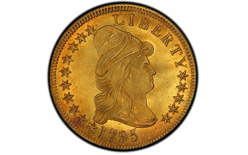 This undated file photo provided by Stack's Bowers Galleries shows a 1795 Capped Bust Right Eagle coin. It was worth $10 when it was minted and sold Wednesday, September 30, 2015, for about $2.5 million. Photo: Stacku2019s Bowers Galleries via AP