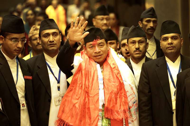 Newly elected Vice-President Nanda Bahadur Pun waves to media persons after the election, at the Legislature-Parliament building in Kathmandu on Saturday, October 31, 2015. Photo: Skanda Gautam