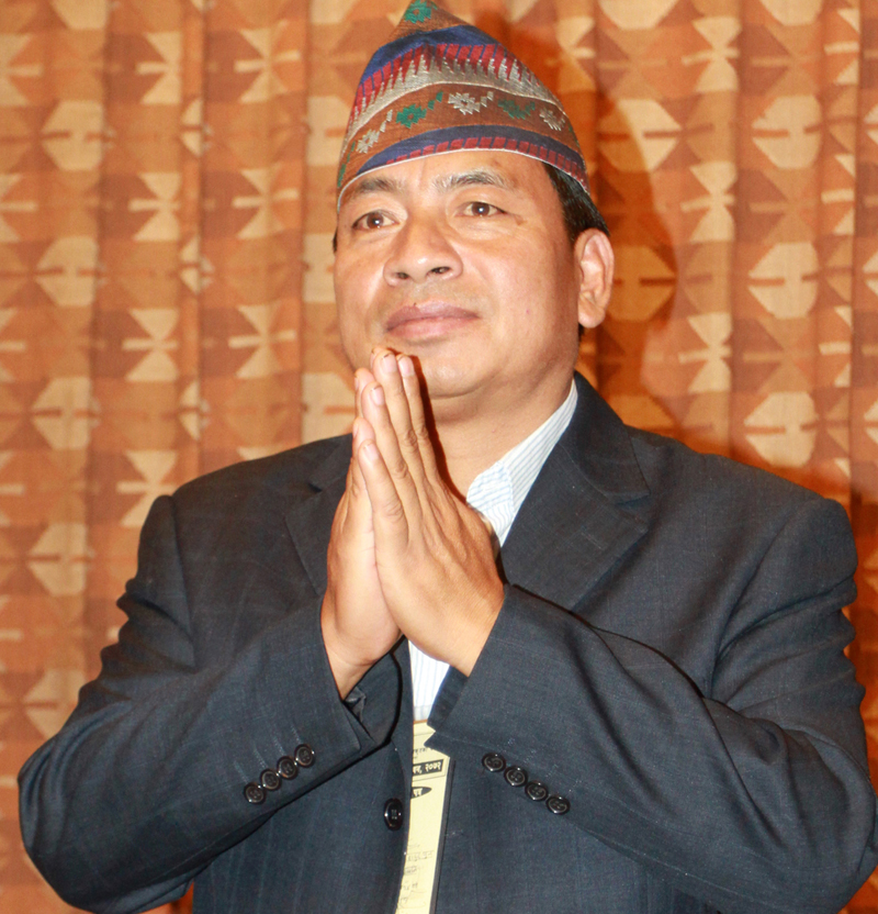 UCPN-Maoist candidate for the Vice-Presidential election, Nanda Bahadur Pun, greets lawmakers before the voting begins at the Parliament building, in Kathmandu, on Saturday, October 31, 2015. Photo: RSS