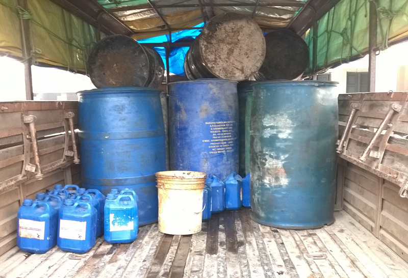 Aviation fuel, seized in Narayangarh while it was being sold nin the black market, at the District Police Office in Chitwan,  non Tuesday.