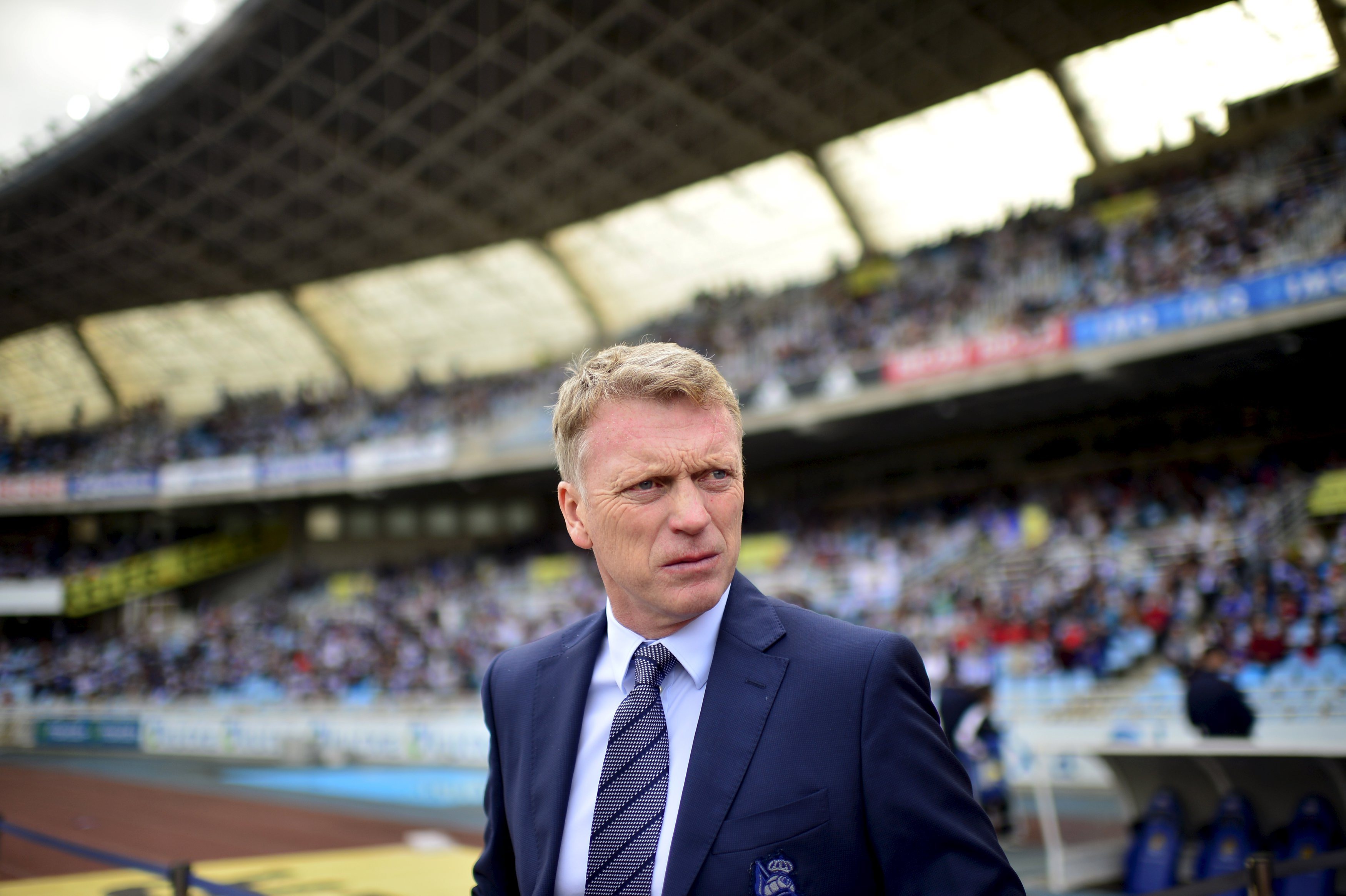 Real Sociedad coach David Moyes is pictured before their Spanish first division soccer match against Atletico Madrid at Anoeta stadium in San Sebastian, northern Spain, October 18, 2015. Photo: Reuters