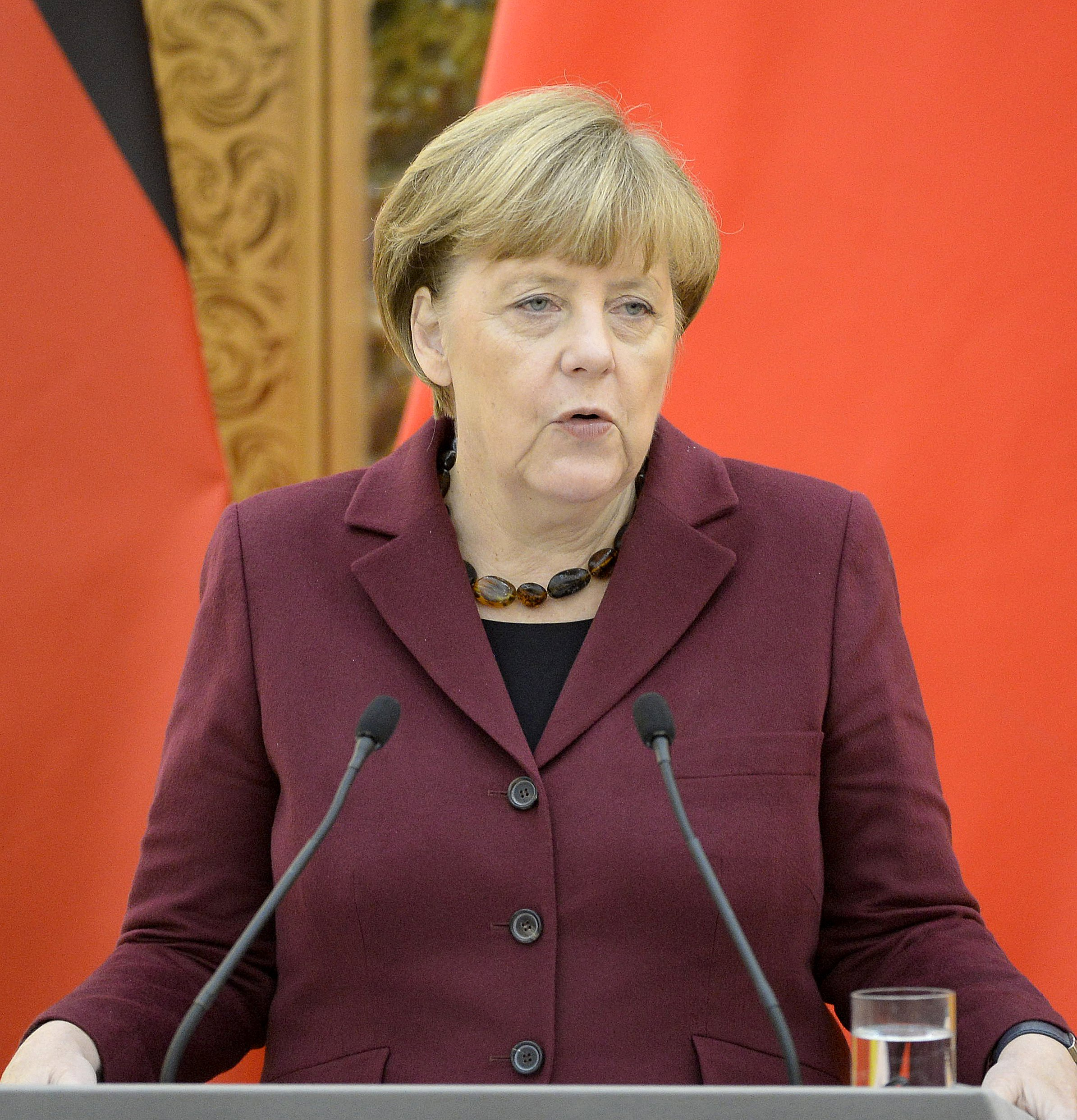 German Chancellor Angela Merkel speaks during a joint news conference with Chinese Premier Li Keqiang at the Great Hall of the People in Beijing October 29, 2015. Photo: Reuters