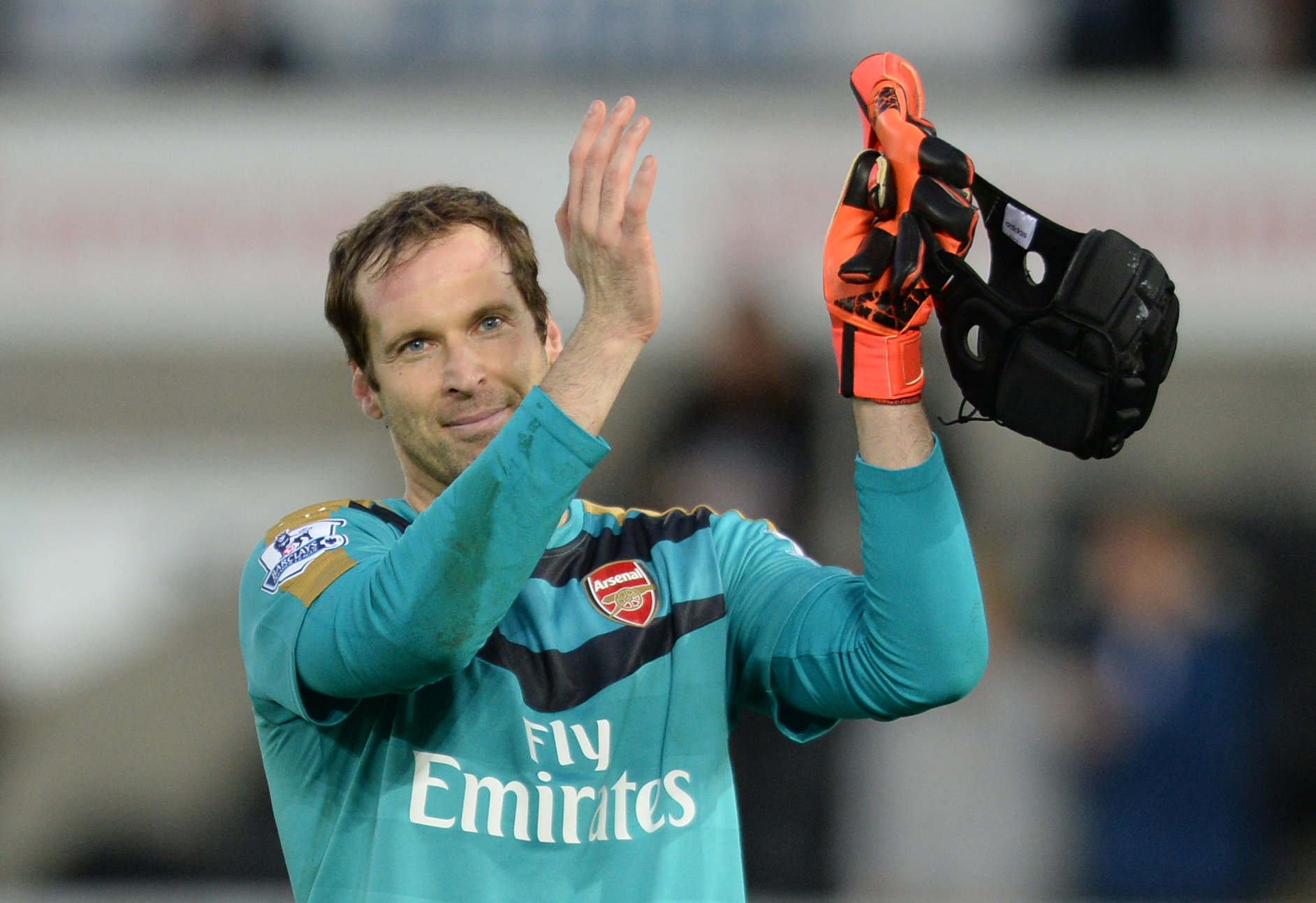 Arsenal's Petr Cech applauds fans after the Swansea City v Arsenal  game. Photo: Reuters