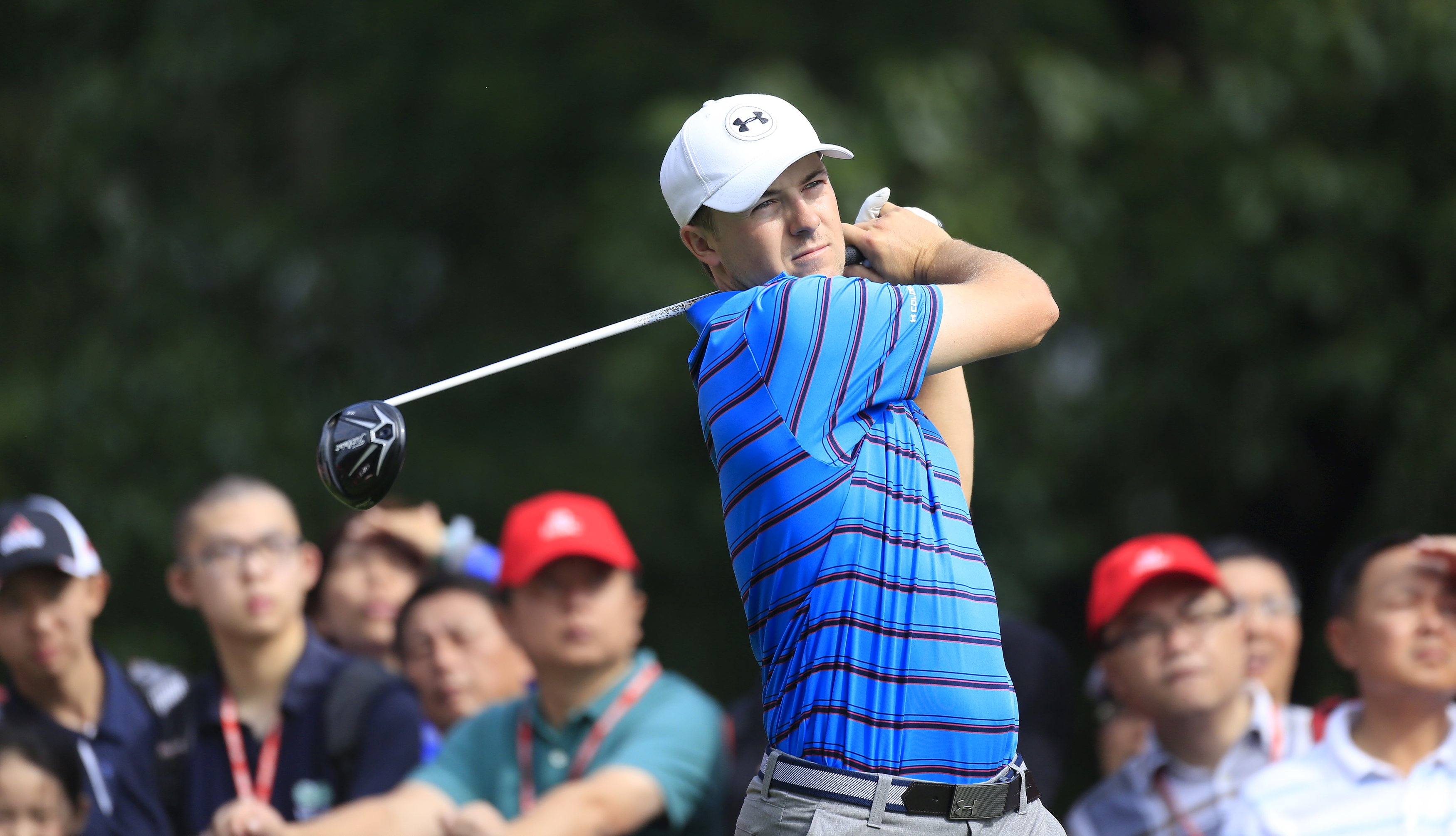 Jordan Spieth of the US tees off on the 14th hole during the first round of the WGC-HSBC Champions golf tournament in Shanghai, China, November 5, 2015. REUTERS/Aly Song