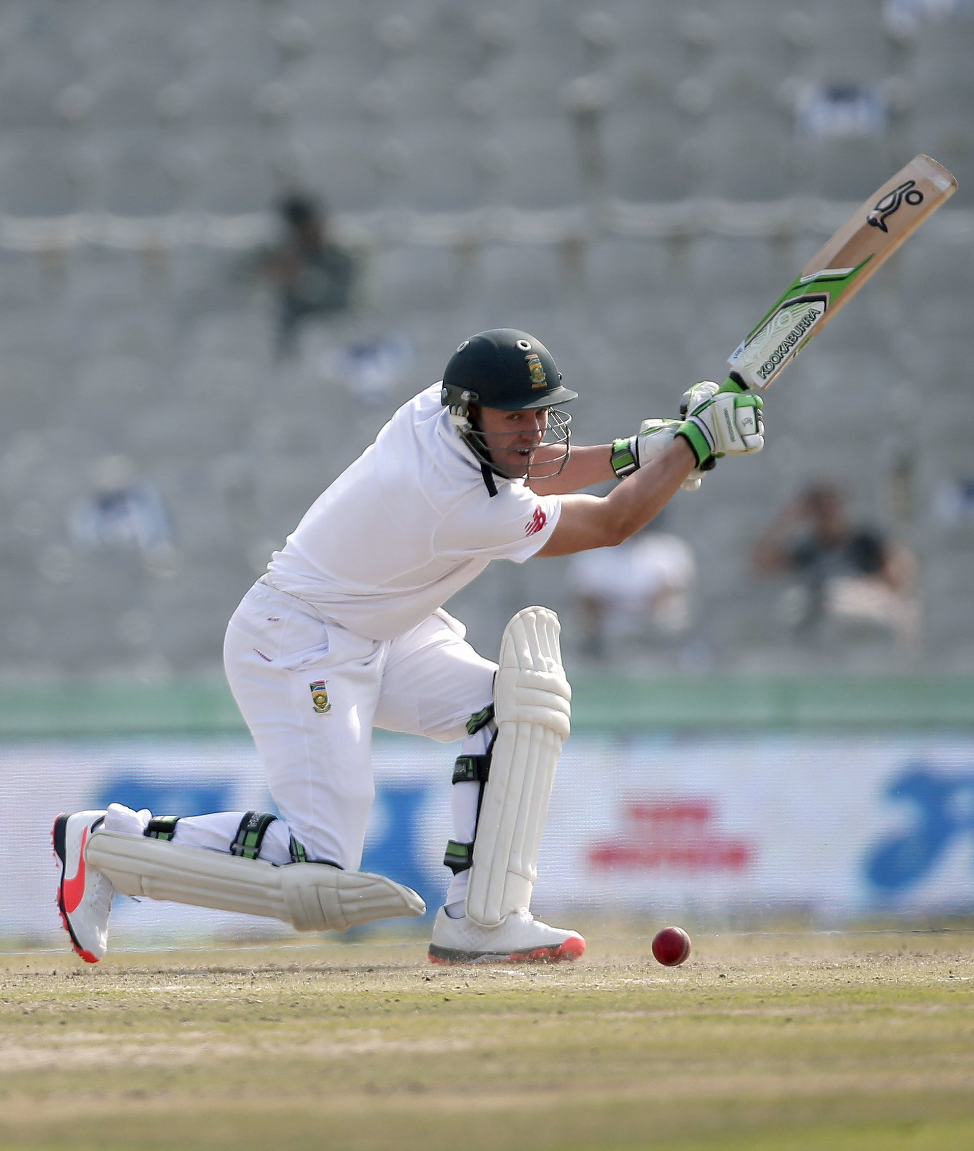 South Africa's AB de Villiers plays a shot during the second day of their first cricket test match against India, in Mohali, India, November 6, 2015. REUTERS/Adnan Abidi
