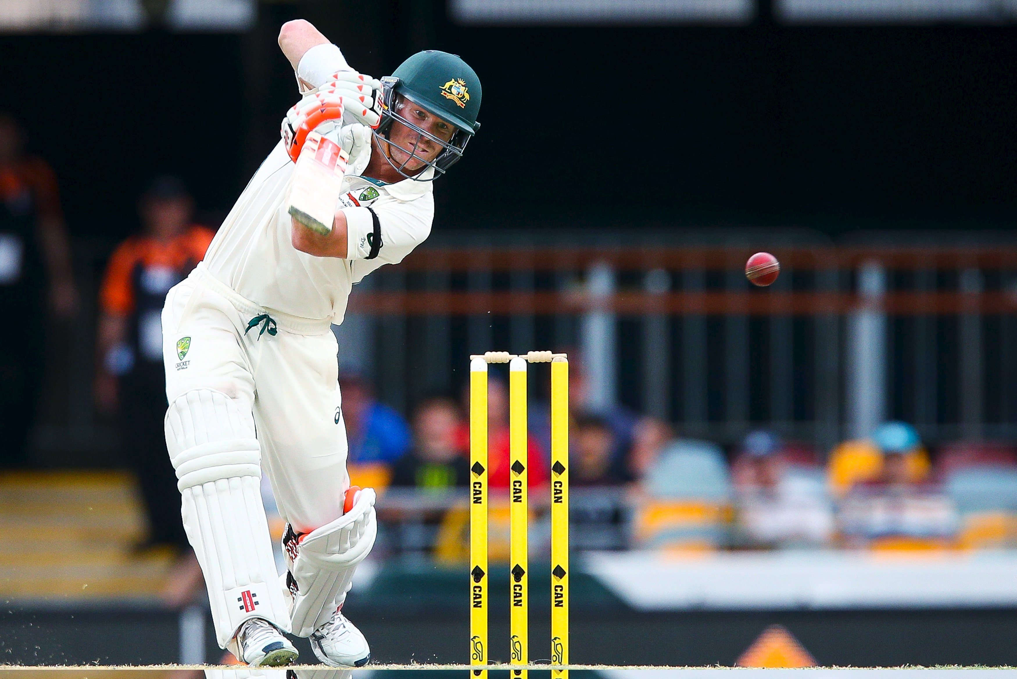 Australian batsman David Warner cover drives for his century during the first cricket test match between Australia and New Zealand in Brisbane, November 7, 2015. REUTERS/Patrick Hamilton