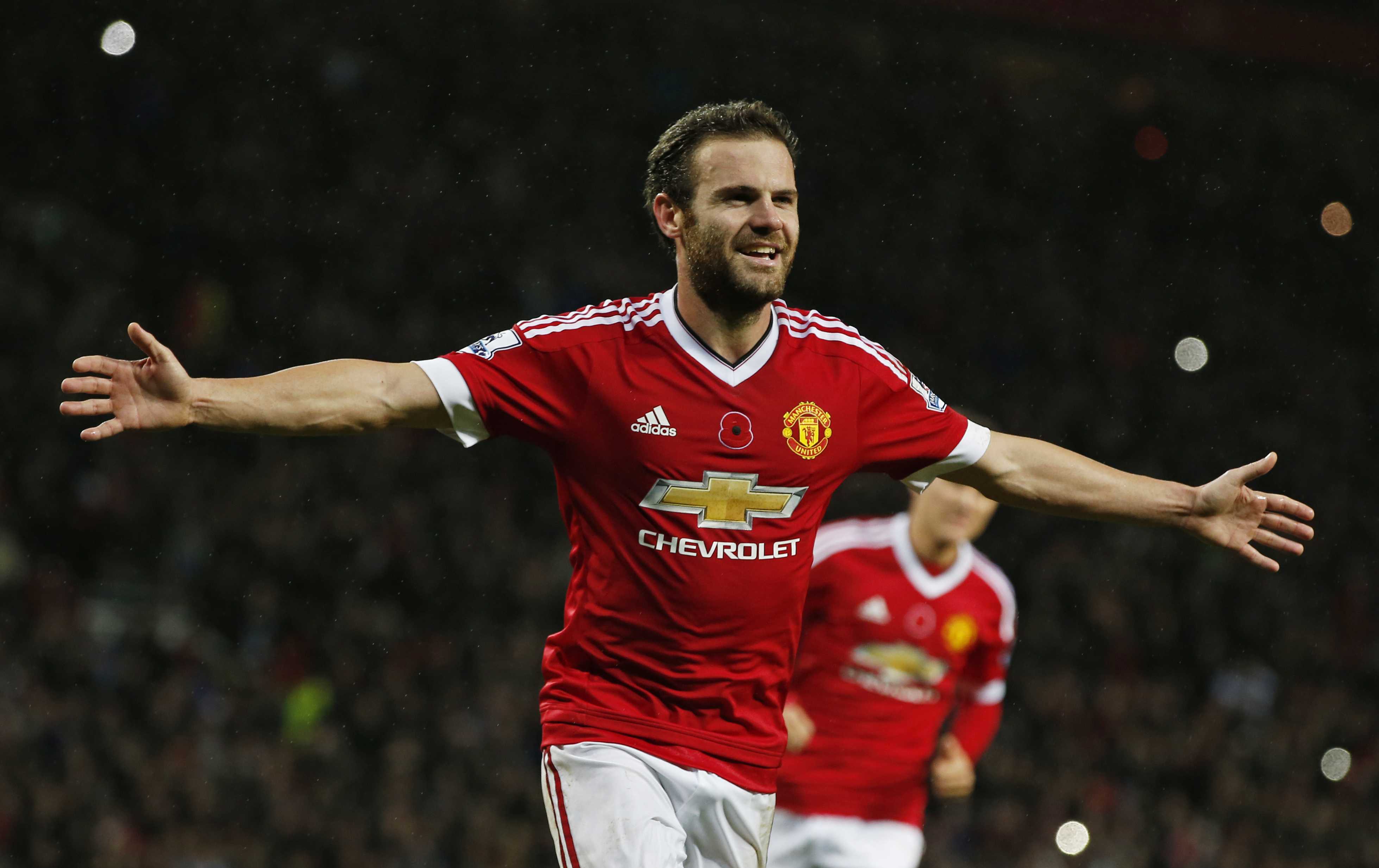 Manchester United's Juan Mata celebrates scoring their second goal during the Barclays Premier League game against West Bromwich Albion at Old Trafford on November 7, 2015. Photo: Reuters