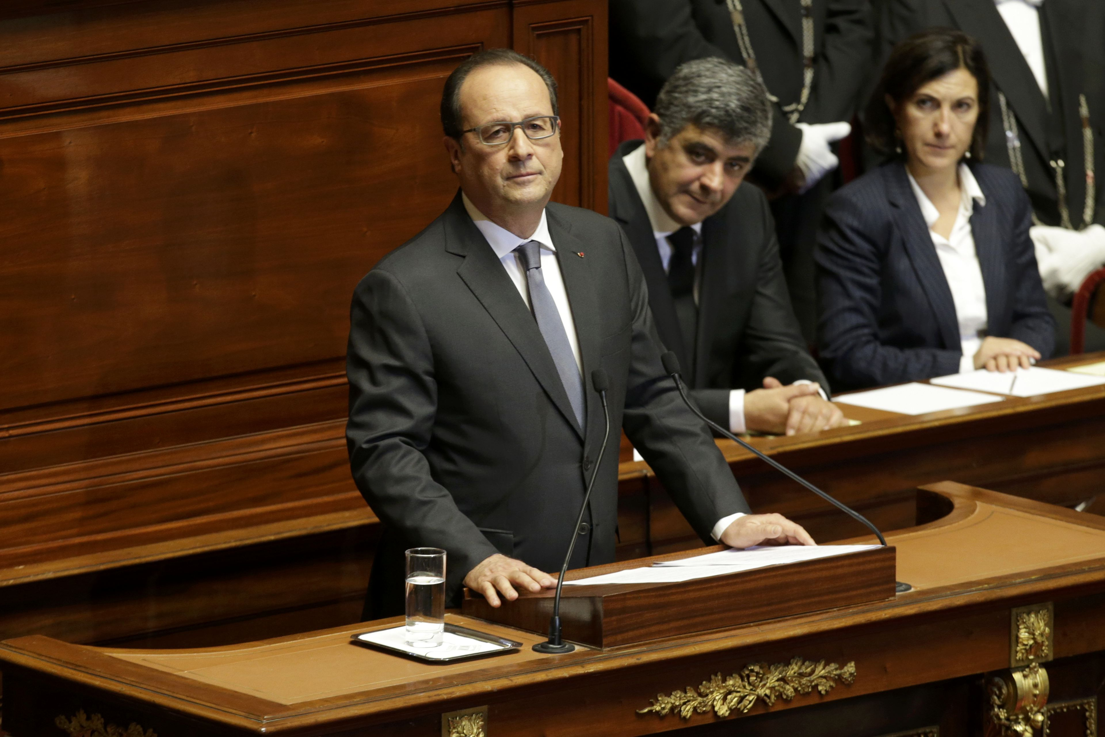 French President Francois Hollande reacts as he delivers a speech at a special congress of the joint upper and lower houses of parliament (National Assembly and Senate) at the Palace of Versailles, near Paris, France, November 16, 2015, following the series of deadly attacks on Friday in the French capital. Photo: Reuters