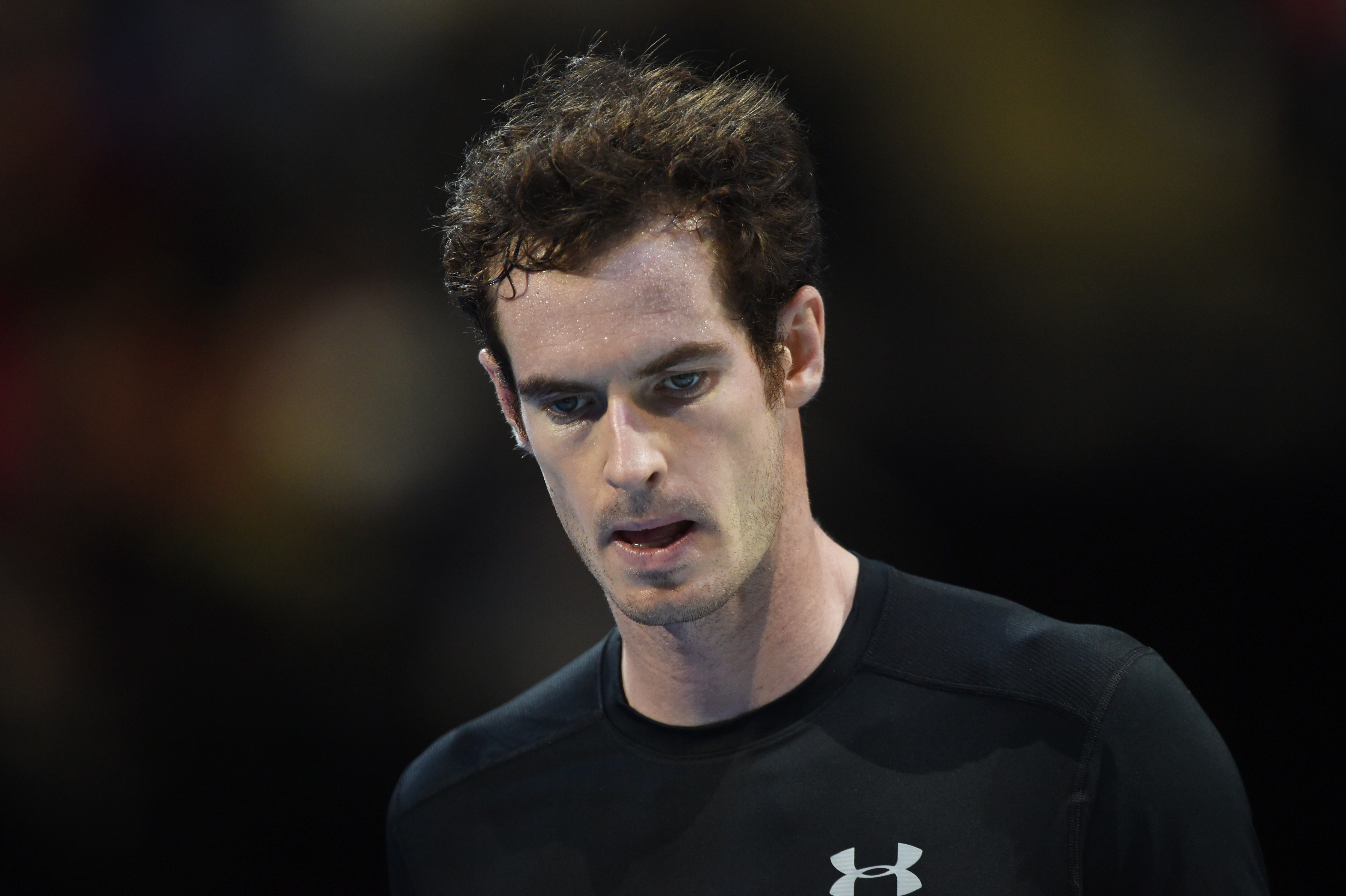 Andy Murray of Great Britain reacts during his match against Rafael Nadal of Spain during Barclays ATP World Tours Finals at O2 Arena in London on Wednesday, November 18, 2015. Photo: Reuters