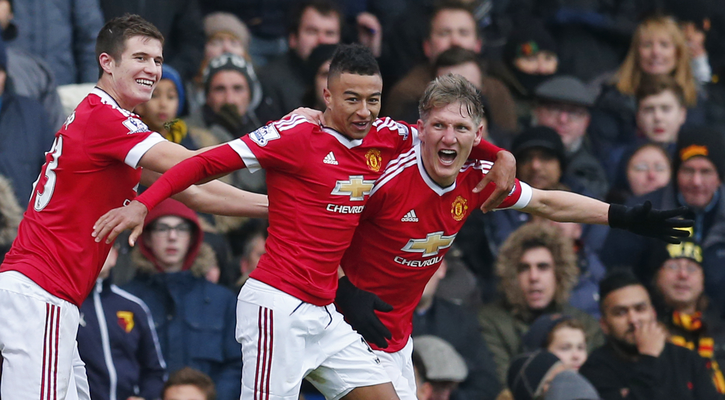 Bastian Schweinsteiger celebrates after scoring the second goal for Manchester United. Photo: Reuters