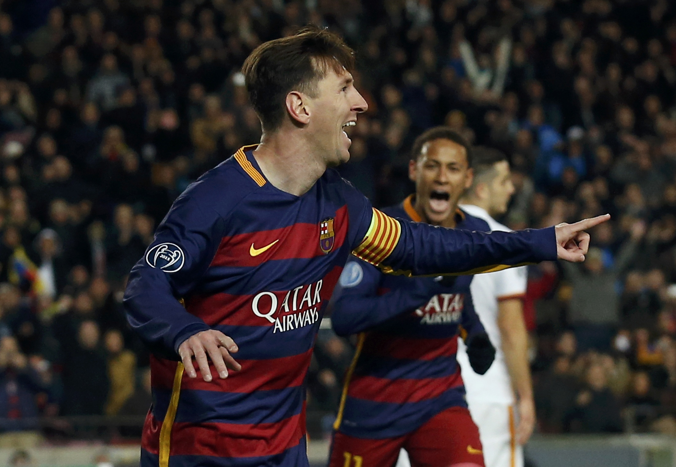 Barcelona's Lionel Messi celebrates scoring the second goal against AS Roma during UEFA Champions League Group Stage in Camp Nou, Barcelona, Spain on November 24, 2015. Photo: Reuters