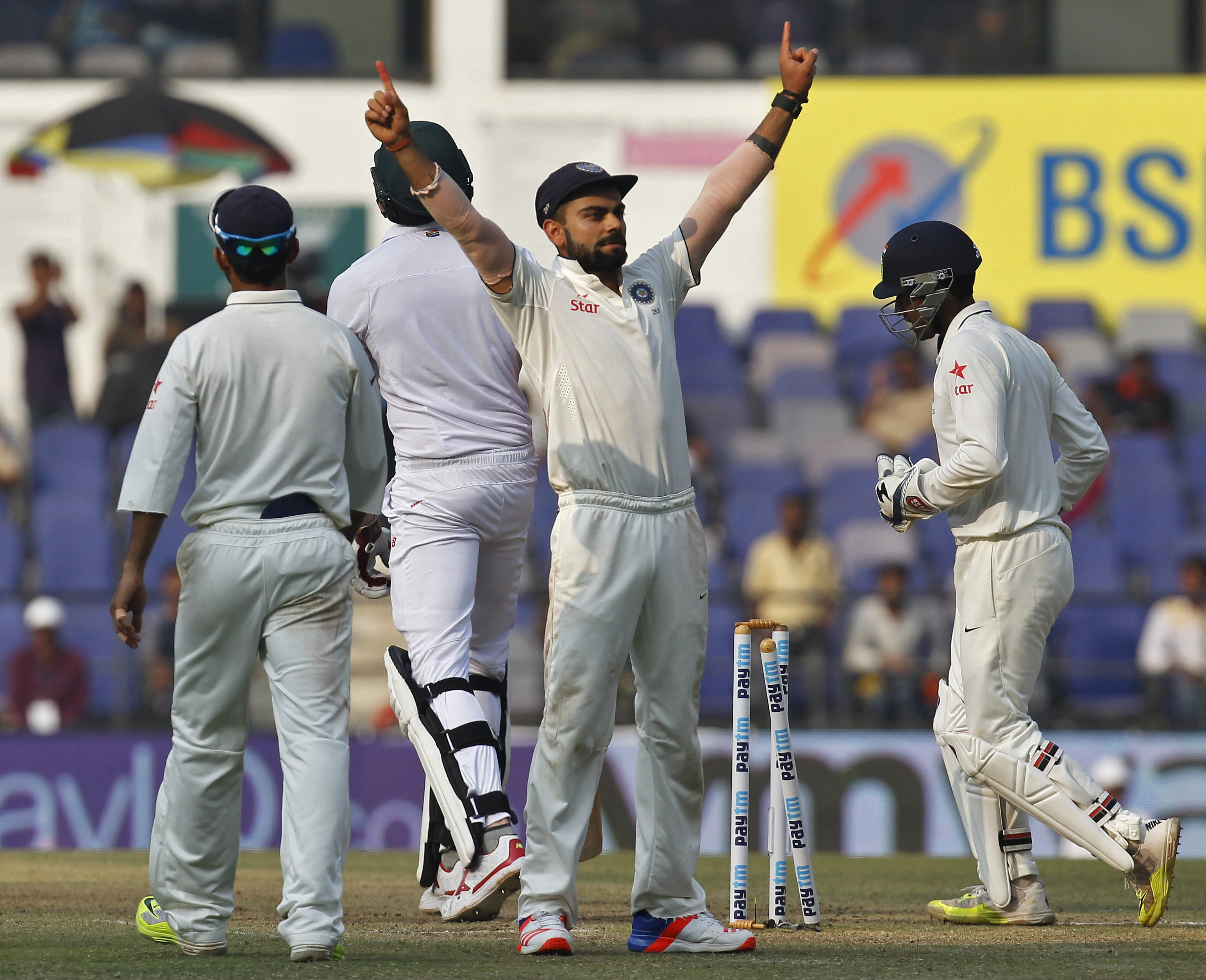 India's captain Virat Kohli celebrates after their win over South Africa on the third day of their third test cricket match in Nagpur, India, November 27, 2015. REUTERS/Amit Dave