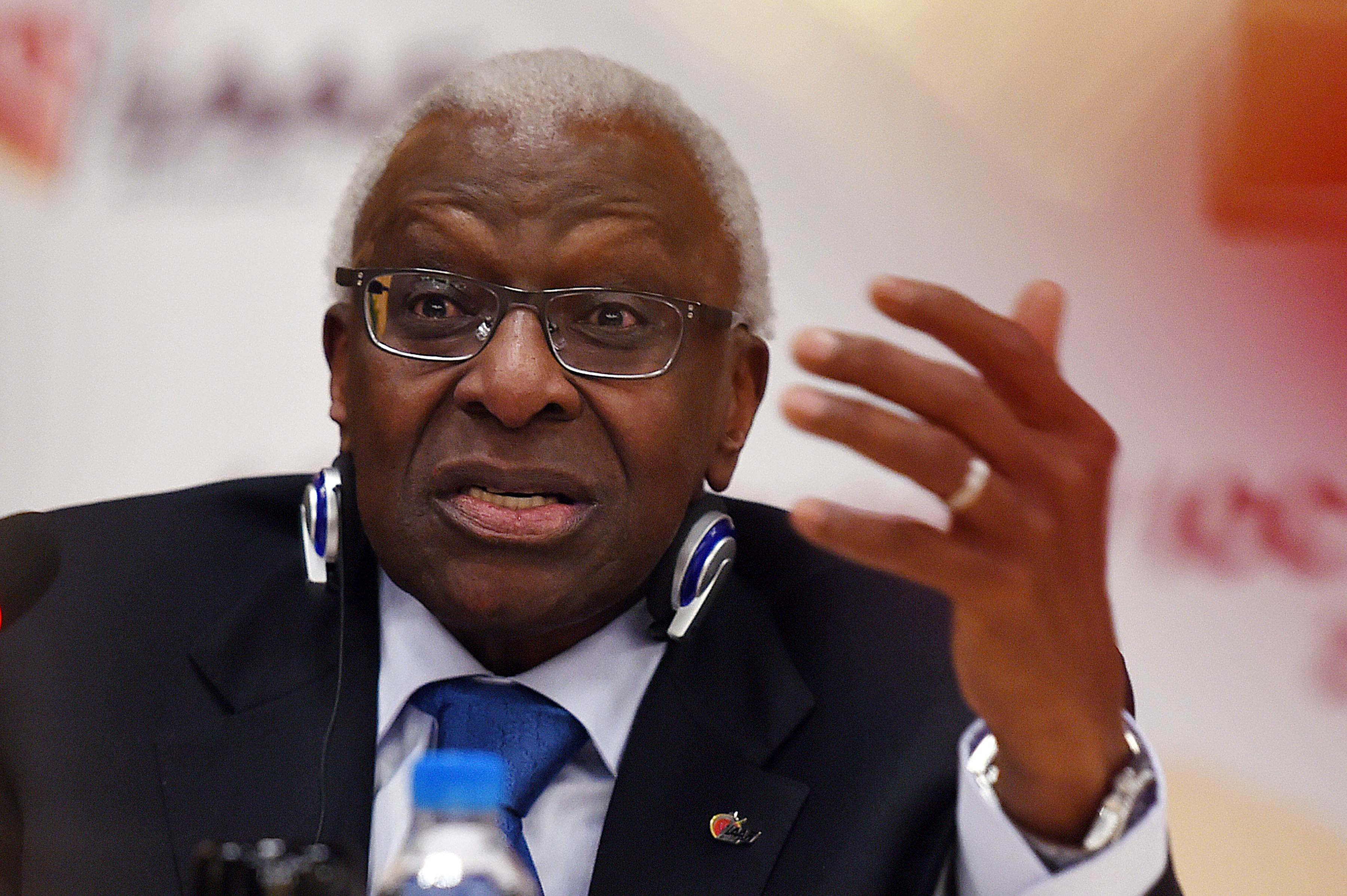 Outgoing International Association of Athletics Federations (IAAF) President Lamine Diack speaking during a press conference in Beijing ahead of the 2015 IAAF World Championships on August 21, 2015. Photo: AFP