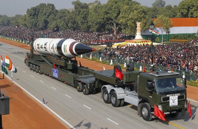 A surface-to-surface Agni V missile is displayed during the Republic Day parade in New Delhi, in this January 26, 2013 file photo. REUTERS/B Mathur/Files