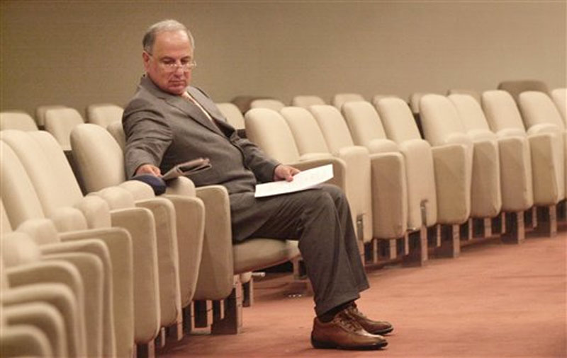 Ahmad Chalabi, head of the Iraqi National Congress, waits for a meeting of the Iraqi National Council to recommence in Baghdad.Saturday Sept. 4, 2004 file photo, Ahmad Chalabi, head of the Iraqi National Congress, waits for a meeting of the Iraqi National Council to recommence in Baghdad on Saturday September 4, 2004. Photo: AP