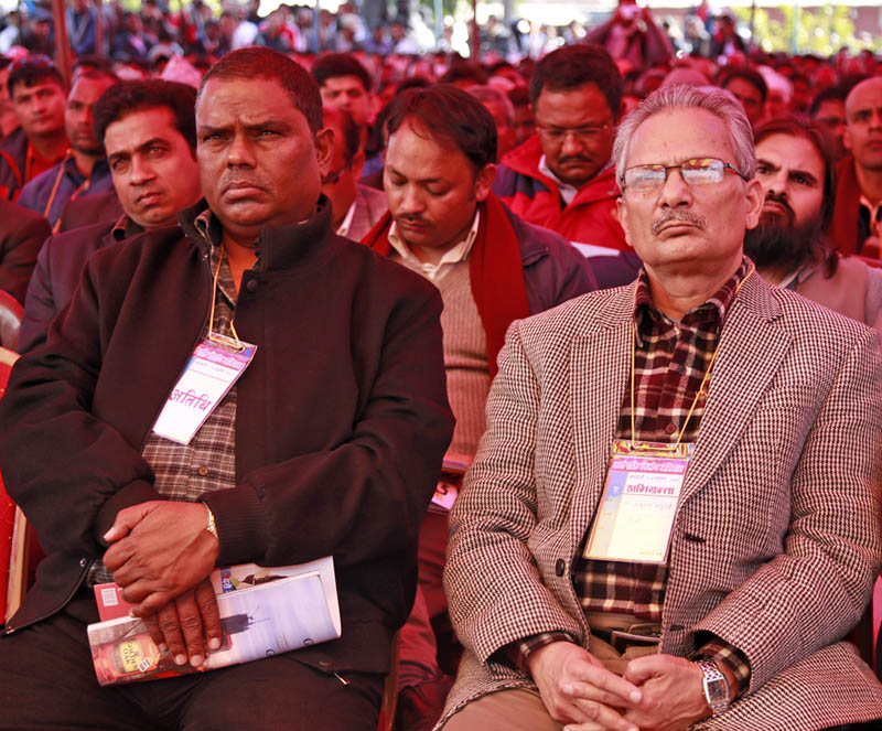 FILE: Upendra Yadav sits next to Dr Baburam Bhattarai at a gathering organised bt the latter to discuss on the formation of a new political force at Kathmandu on November 22, 2015. Photo: RSS