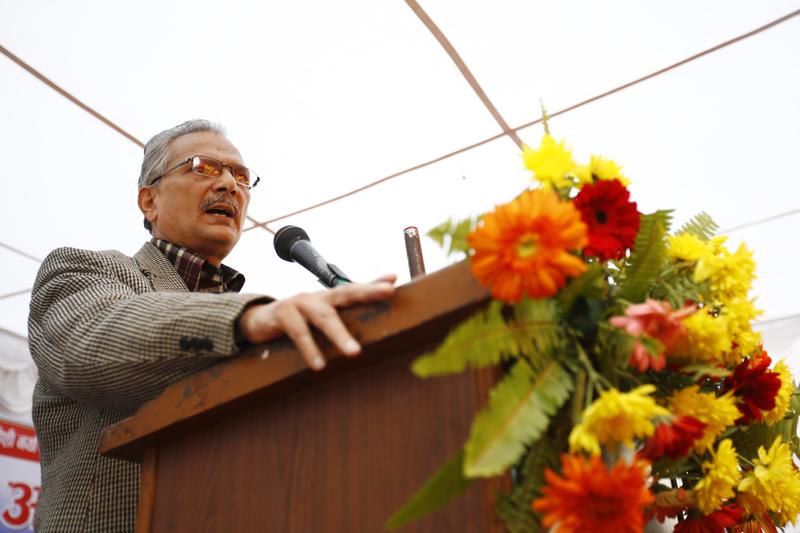 Former Prime Minister Baburam Bhattarai delivering his speech during the launch of much-hyped New Force (Naya Shakti) in Dhumbarahi, Kathmandu on Sunday, November 22, 2015. Photo: Skanda Gautam/ THT