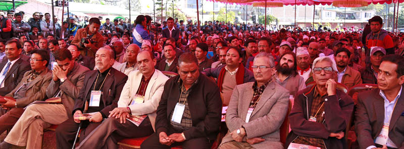 Upendra Yadav sits next to Dr Baburam Bhattarai at a gathering organised bt the latter to discuss on the formation of a new political force at Kathmandu on November 22, 2015. Photo: RSS