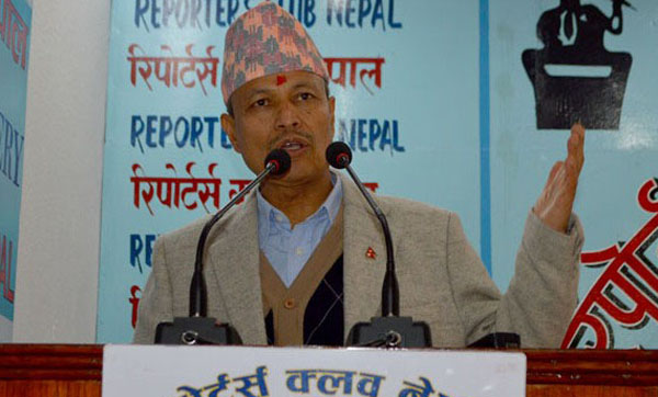 Deputy Prime Minister and Minister for Defence, Bhim Bahadur Rawal, speaking with journalists at the Reporters' Club, in Kathmandu, on Saturday, November 28, 2015. Photo: Reporters' Club