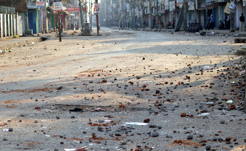 Stones and brick particles  accumulated at the main road in Birgunj of Parsa district after the whole day's clash of Madhesi Front cadres with Police on Tuesday, November 3, 2015. Photo: Ram Sarraf