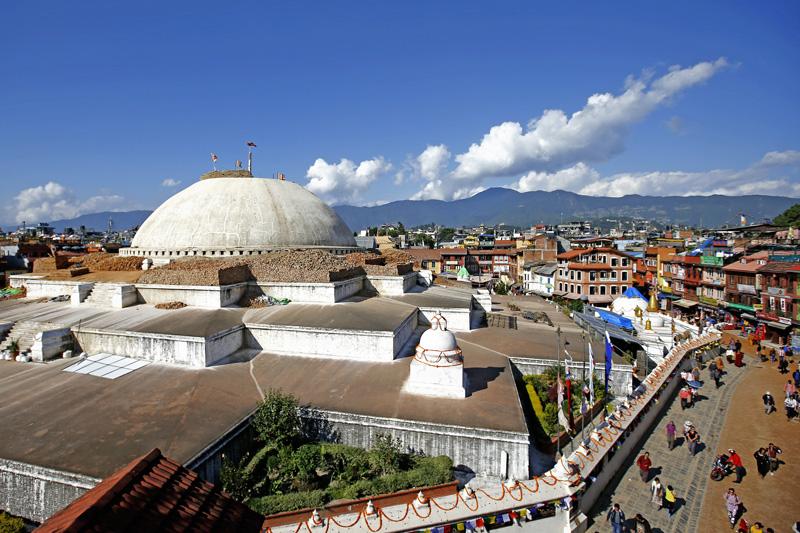 Bouddhanath Stupa, a UNESCO World Heritage Site in Kathmandu, undergoing reconstruction after the April 25 earthquake. Photo: Skanda Gautam