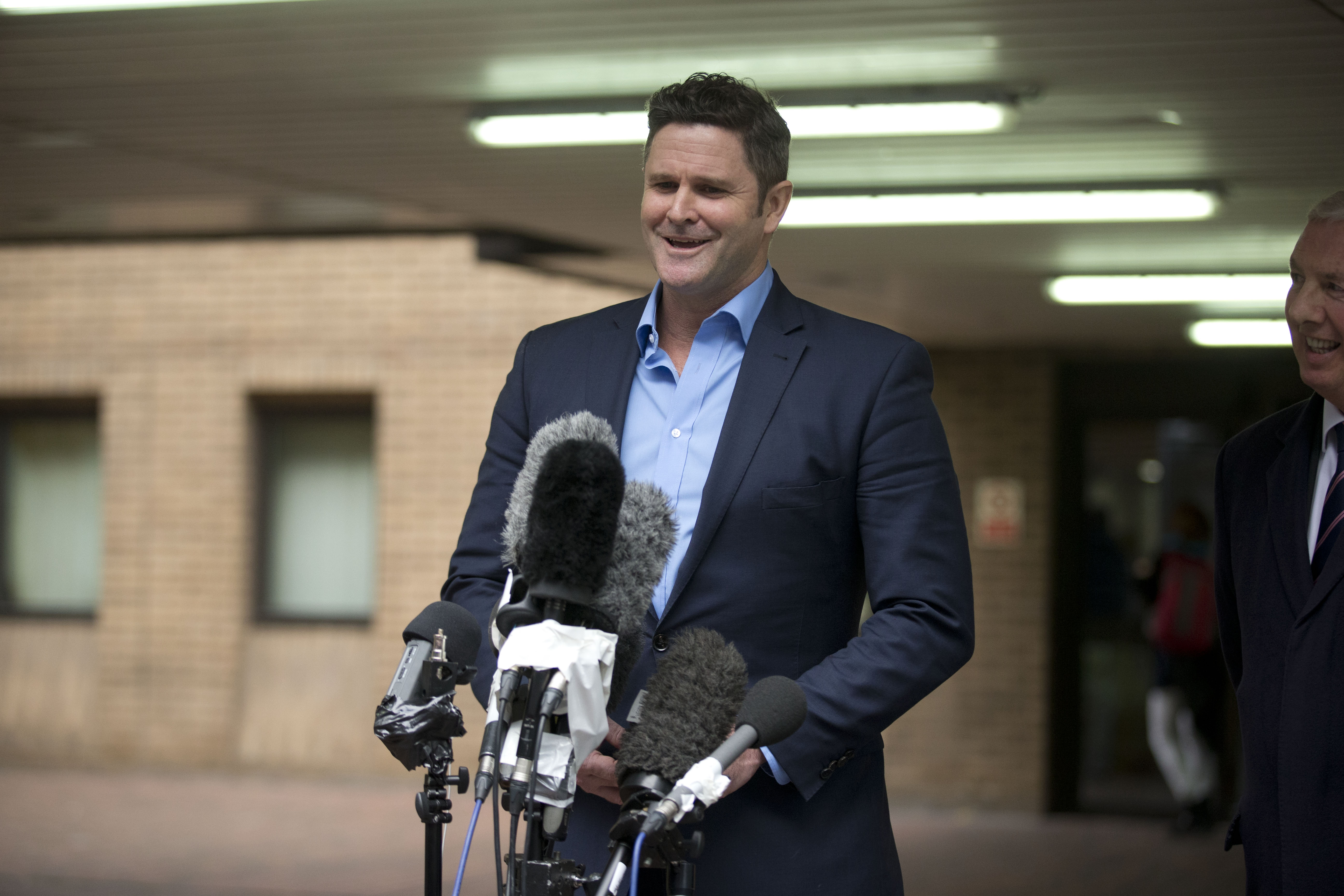 Former New Zealand cricket captain Chris Cairns speaks to the media after being found not-guilty in his perjury trial at Southwark Crown Court in London, Monday, Nov. 30, 2015. Photo: AP