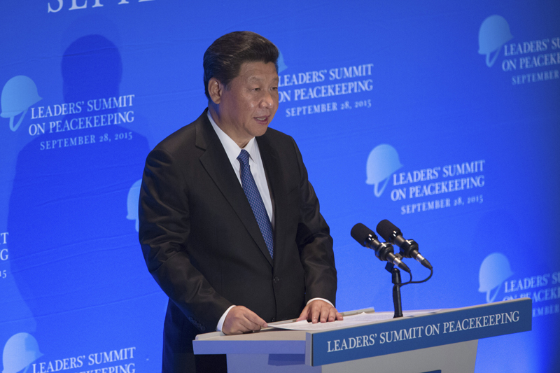 FILE - In this Monday, Sept. 28, 2015 file photo, China's President Xi Jinping speaks at a leaders' summit on peacekeeping at United Nations headquarters. The murders of Chinese citizens by Islamic militants in Syria and Mali place President Xi in a quandary: How can Beijing respond effectively without betraying its strict stance against intervention? The dilemma underscores the tension between Chinau0092s desire to be seen as a leading global power and its desire to remain independent whiling shunning the US-led Western political agenda. Photo: AP