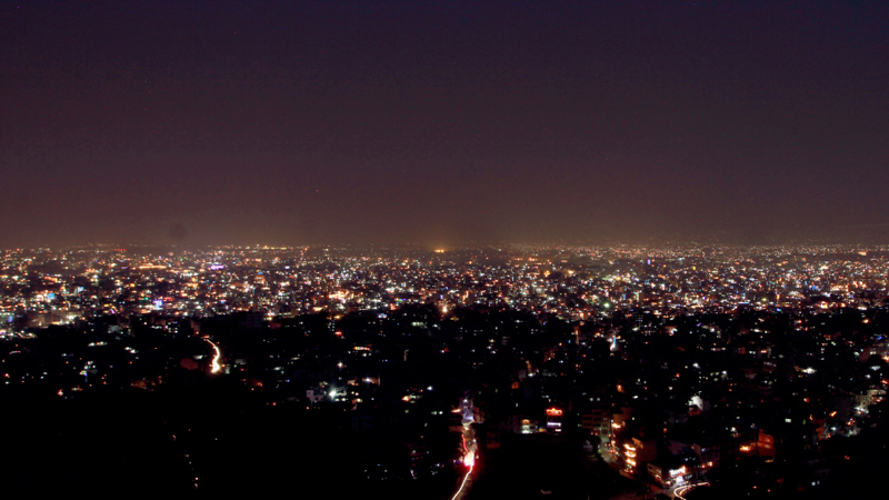 A view from Swayambhunath of Kathmandu as the Valley gets illuminated on the occasion of Laxmi Puja or Deepawali festival, on Wednesday, November 11, 2015. Photo: RSS