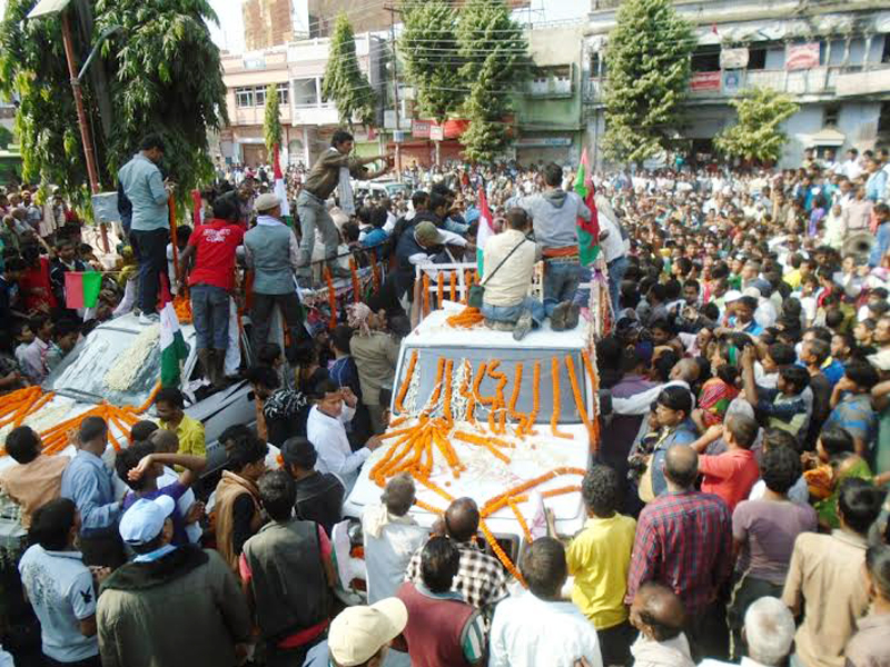 Funeral procession of four persons, who died in different incidents in Saptari district last week during protests, in Rajbiraj on Saturday, November 28, 2015. Photo: THT Online