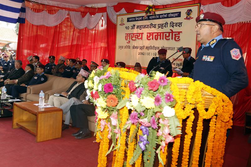 IGP Upendra Kant Aryal addresses the anniversary function of Metropolitan Police, in Kathmandu, on Wednesday, November 18, 2015. Photo: RSS