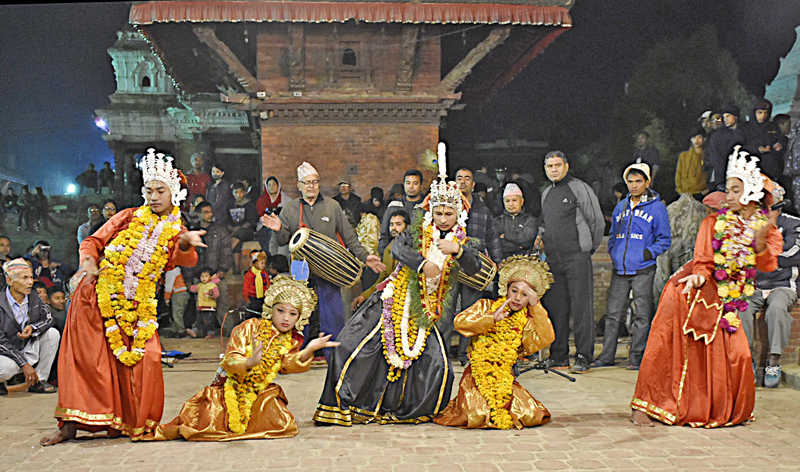 FILE: A group of artistes performing Kartik Naach on the first day of a 10-day-long celebration at Patan Durbar Square, in Lalitpur, on Monday. Photo: Naresh Shrestha/THT