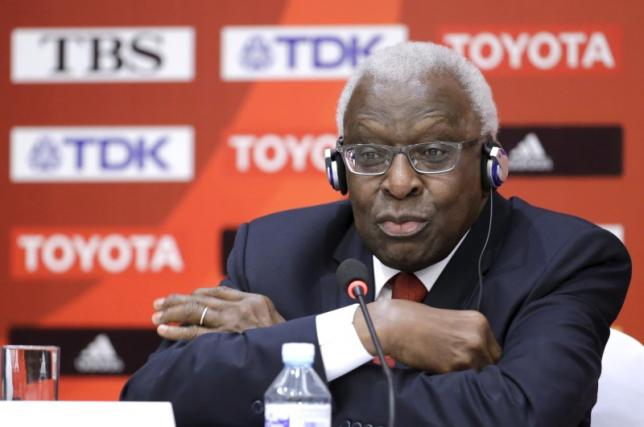 Outgoing President of International Association of Athletics Federations (IAAF) Lamine Diack attends a news conference in Beijing, August 20, 2015.  REUTERS/Jason Lee/Files