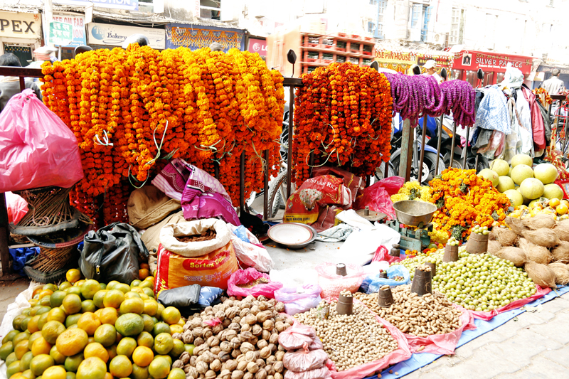 Laxmi Puja materials on display for sale at Bishal Bazaar on Tuesday, November 10, 2015. Photo: RSS