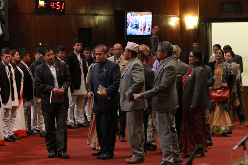 Lawmakers of the Madhes-centric parties chant slogans demanding fulfillment of their demands, during the Parliament meeting, in Kathmandu, on Sunday, November 8, 2015. Photo: RSS