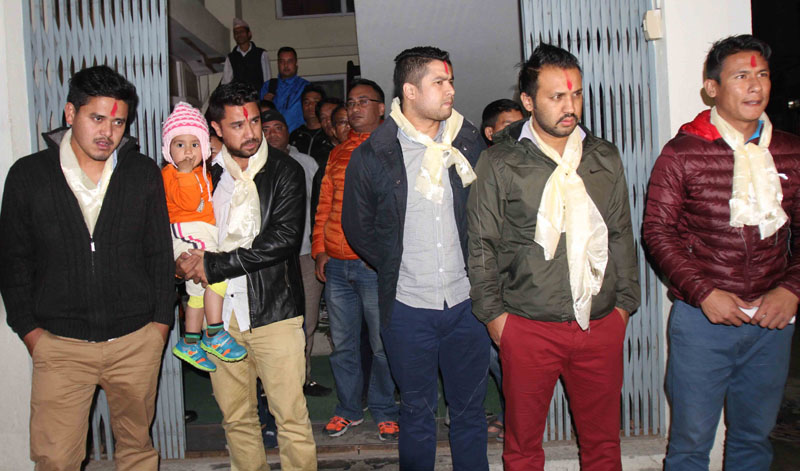 File - (From left) Sandip Rai, Ritesh Thapa, Bikash Singh Chhetri, Anjan KC and Sagar Thapa at the Special Court in Babarmahal, Kathmandu, on Tuesday, after they were released on bail on a match-fixing case. Photo: Udipt Singh Chhetry/THT