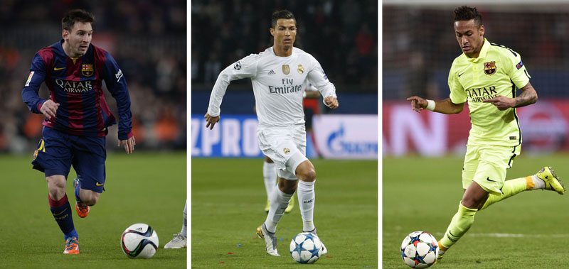 Combination photo made on November 30, 2016 shows  Barcelona's Argentinian forward Lionel Messi (L) in Barcelona on January 21, 2015, Real Madrid's Portuguese forward Cristiano Ronaldo (C) on October 21, 2015 in Paris and Barcelona's Brazilian forward Neymar da Silva Santos Junior (R). Messi, Ronaldo and Neymar were chosen as top three candidates for FIFA Ballon d'Or with the winner due to be announced on January 11, 2016.  AFP PHOTO / LLUIS GENE / GERARD JULIEN / OLIVIER LANG