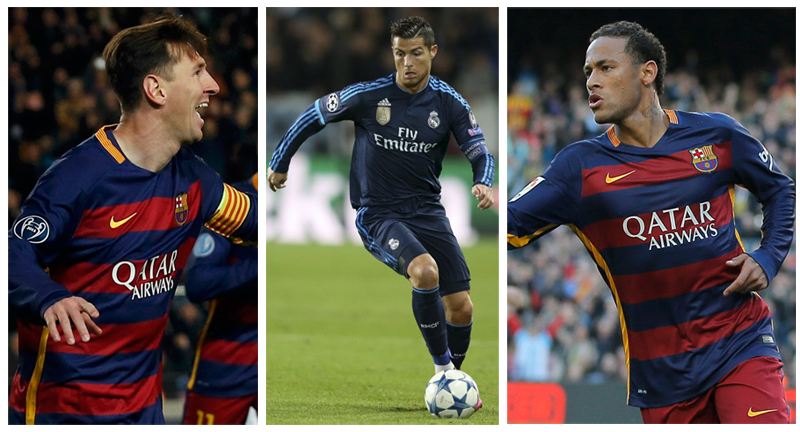 From left (Messi, Ronaldo and Neymar) short listed for this year Ballon's D'or award to be annouced on January 11 at Zurich gala in Switzerland. Ph