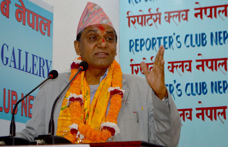 Minister for Culture, Tourism and Civil Aviation Ananda Prasad Pokharel speaks at the Reporters' Club in Kathmandu, on Monday, November 9, 2015. Photo: Reporters' Club