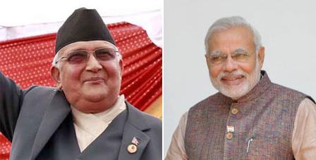 PM KP Sharma Oli and Indian PM Narendra Modi. File photos