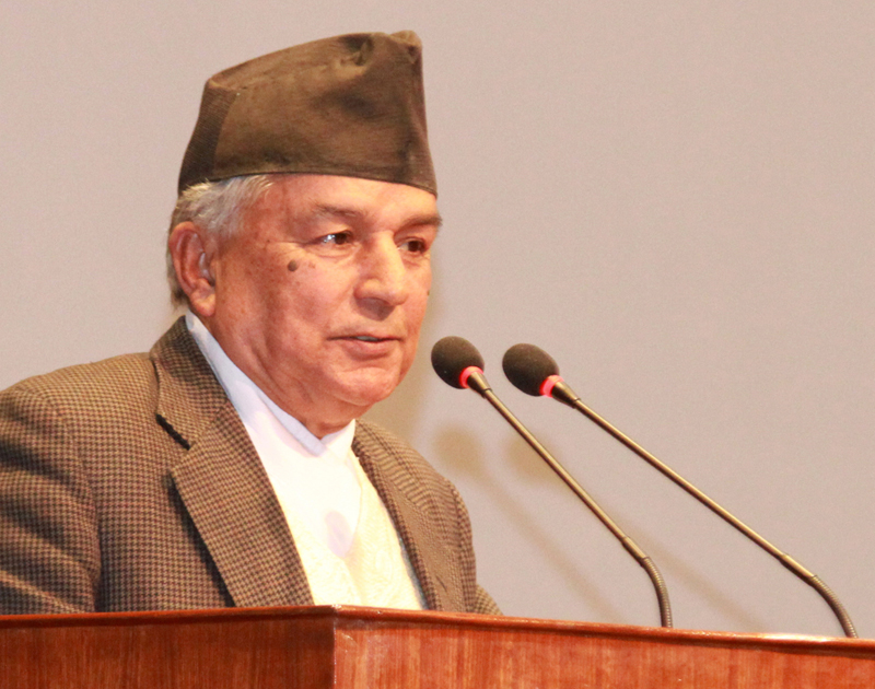 Nepali Congress leader Ram Chandra Paudel speaks at the House meeting, on Sunday, November 8, 2015. Photo: RSS