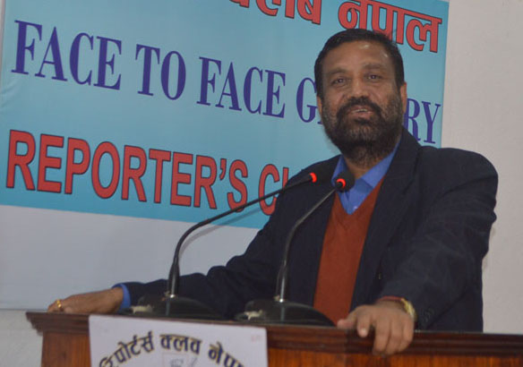 Nepali Congress leader Bimalendra Nidhi speaking at an interaction at the Reporters' Club on Friday, November 20, 2015. Photo: Reporters' Club