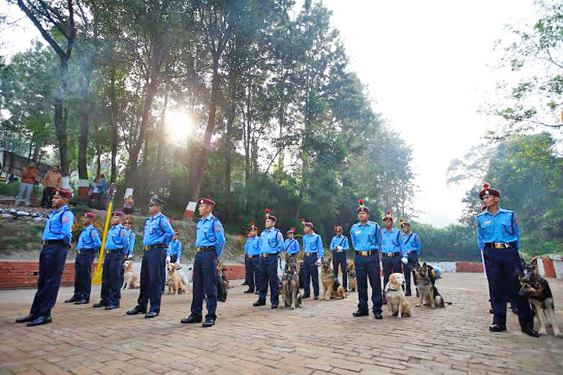 Nepali police officers with dogs to worship them during the dog festival as part of celebrations of Tihar at Central Police Dog Training School in Kathmandu, Nepal, on Tuesday, November 10, 2015. Photo: Skanda Gautam