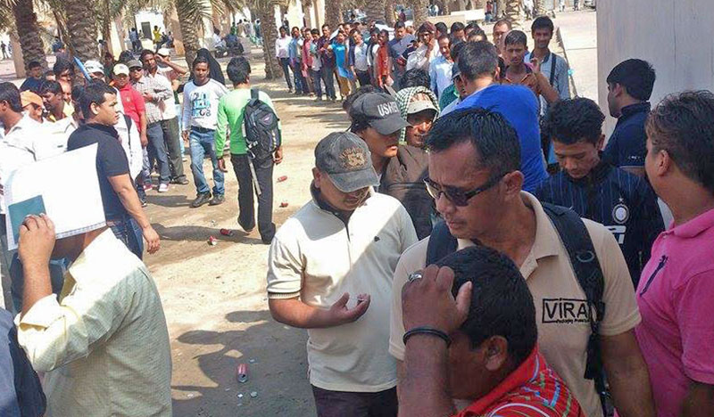 File - Nepali migrant workers queue up  at the Nepali Embassy in Saudi Arabia to prepare Machine Readable Passport. Photo: RSS