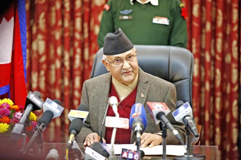 PM KP Sharma Oli addresses the nation from the PM's residence in Balwatar, Kathmandu on Sunday, November 15, 2015. Photo: Skanda Gautam